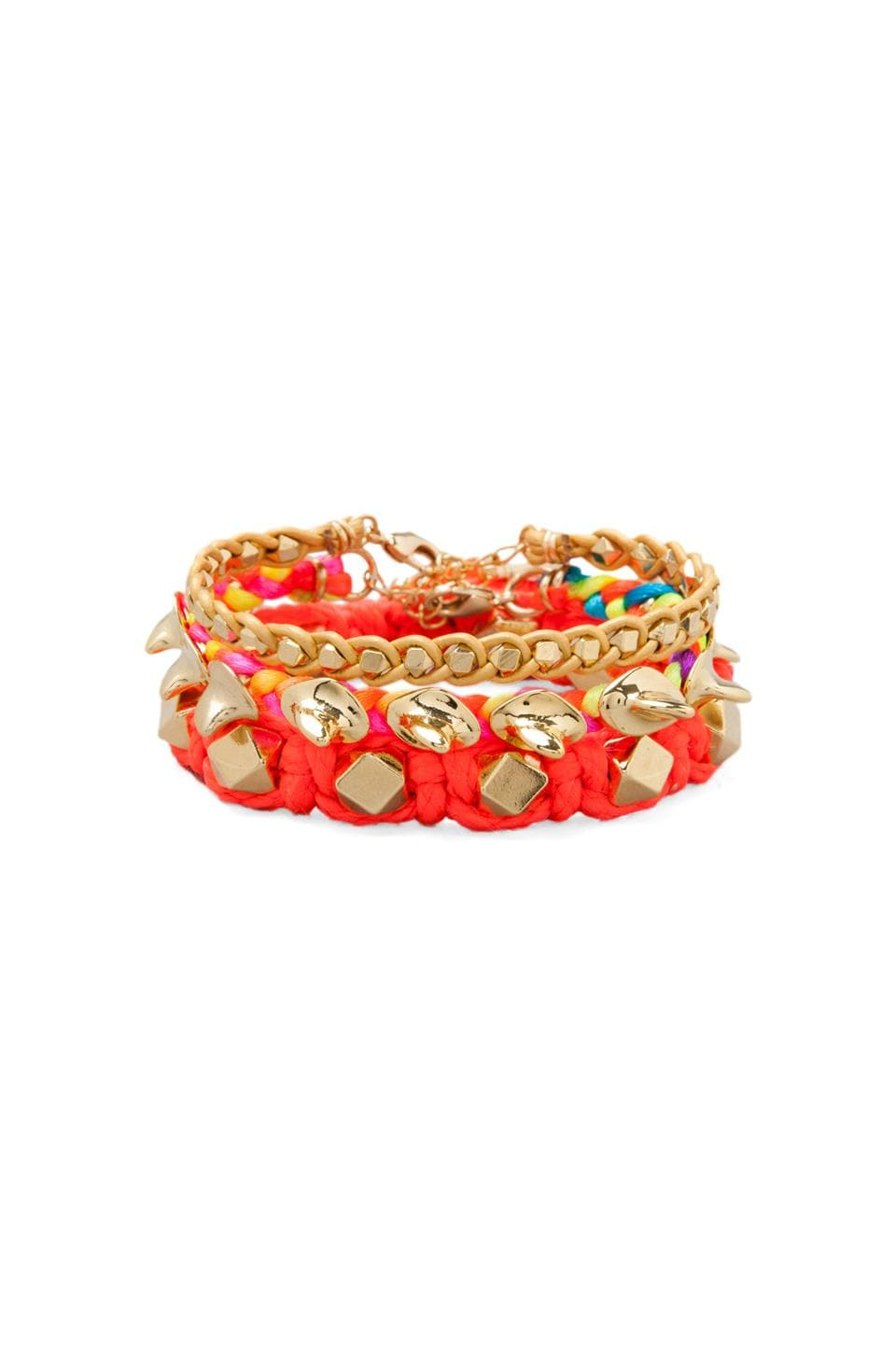 Ettika Gold Bead Bracelet in Coral Multi