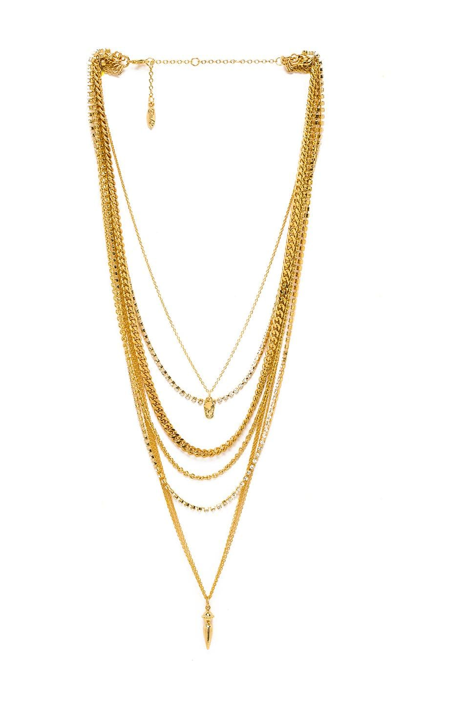 Ettika Spike and Skull Layered Necklace in Gold