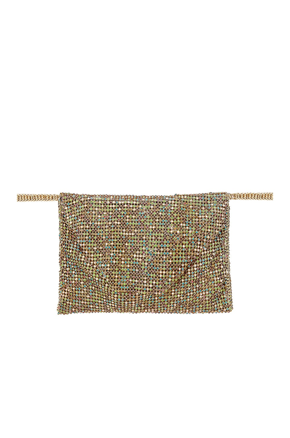 Ettika Rainbow Crystal Belt Bag in Rainbow & Gold