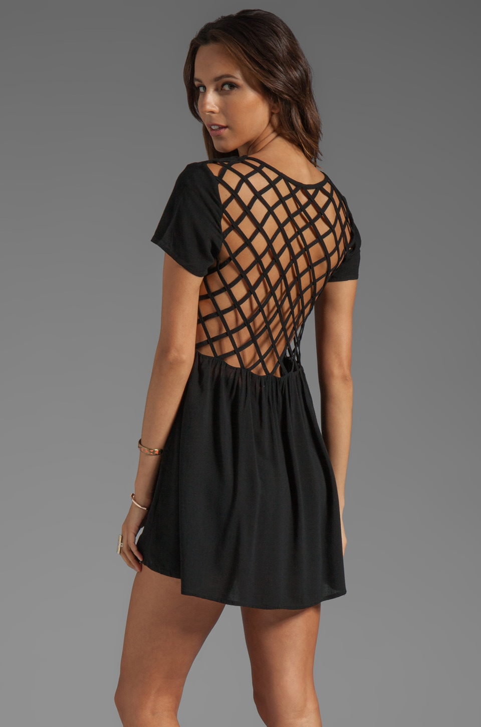 Evil Twin Paranoid Cage Back Babydoll Dress in Black