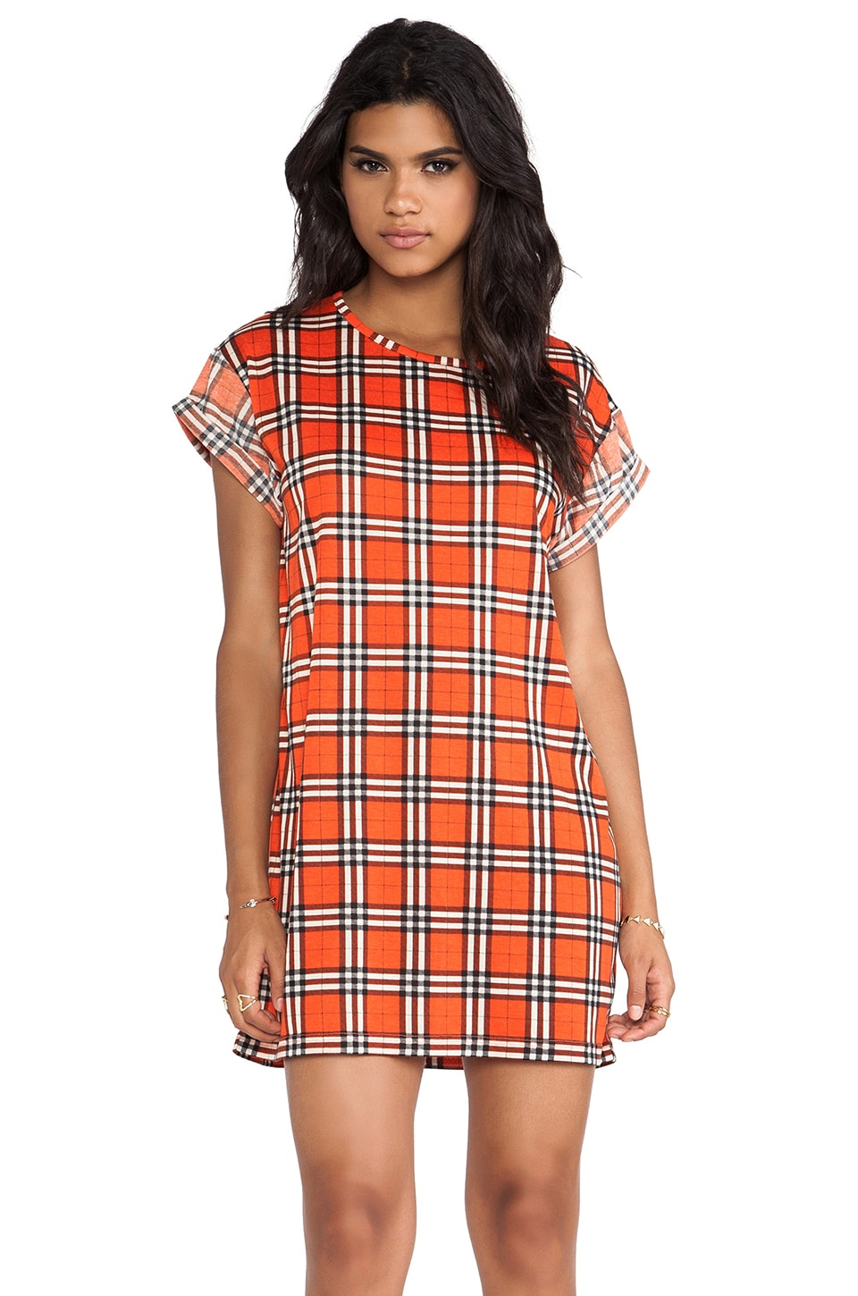 Evil Twin Bad Element Roll Sleeve Tee Dress in Red