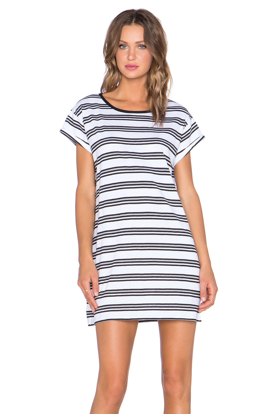 Evil Twin Crooked Young Striped Tee Dress in White & Black