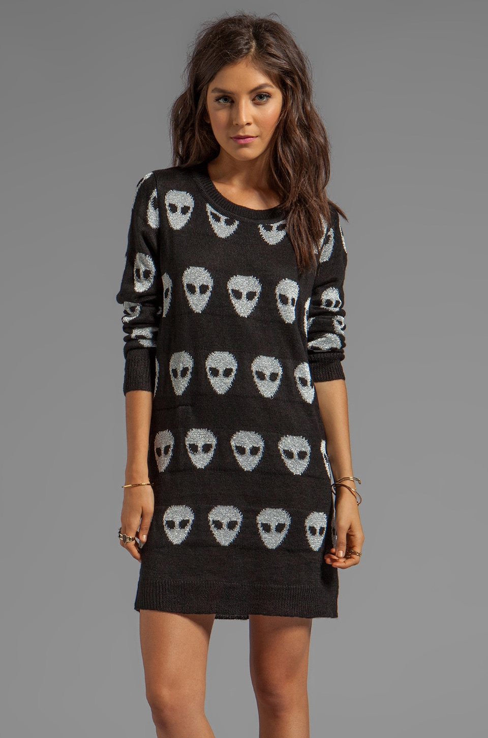 Evil Twin Invasion Tunic Jumper in Black/Silver