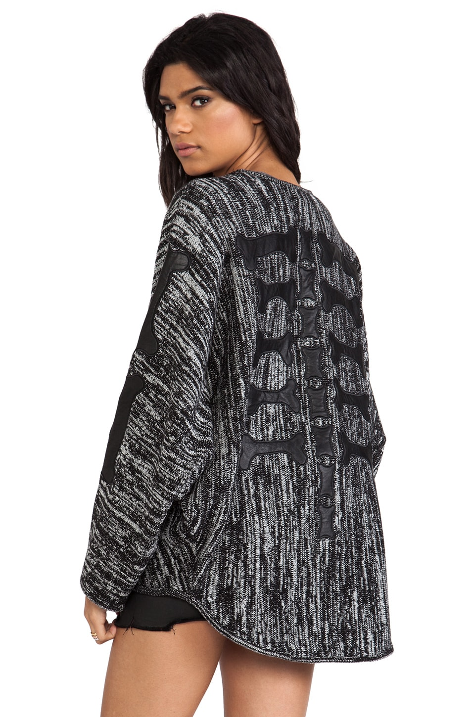 Evil Twin Back Boned Knitted Cardigan in Multi