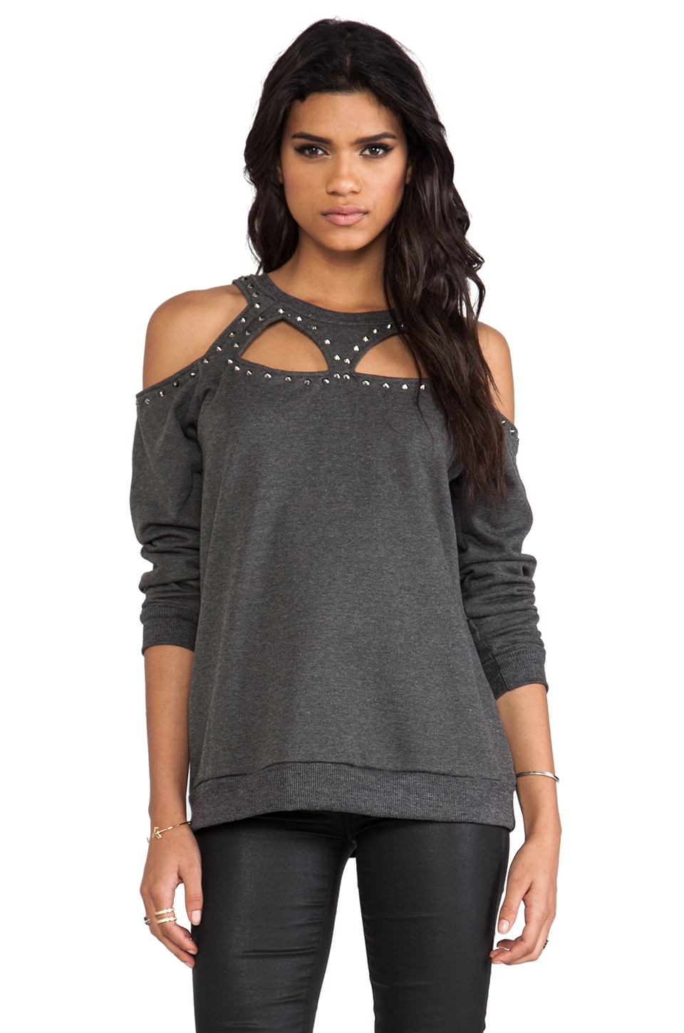 Evil Twin Defensive Studded Cut Out Sweater in Charcoal