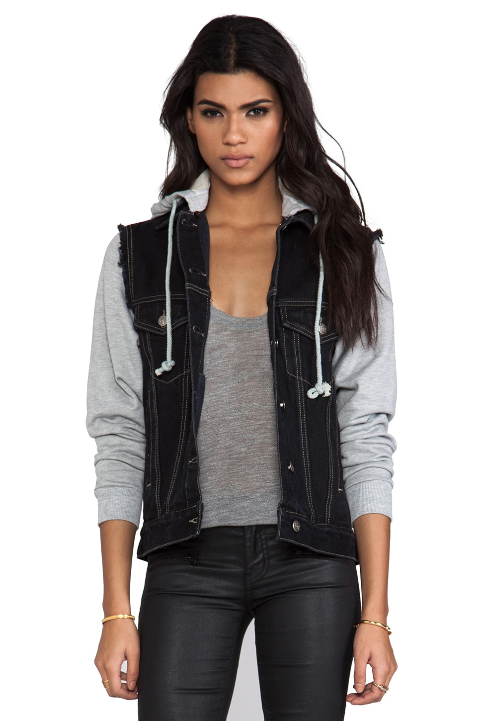 Evil Twin Lazy Eye Combo Denim Jacket in Black & Grey