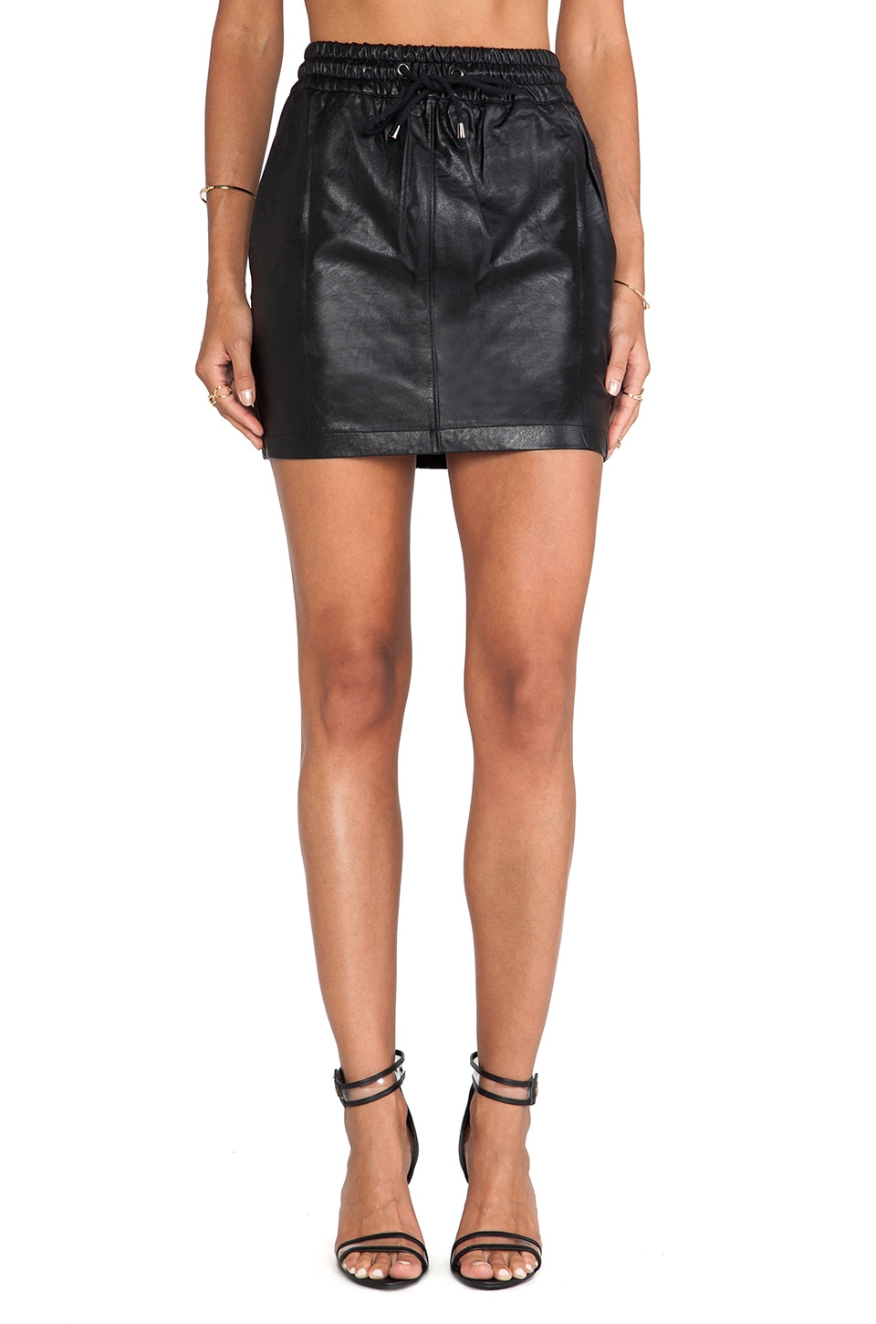 Evil Twin Game Face PU Skirt in Black