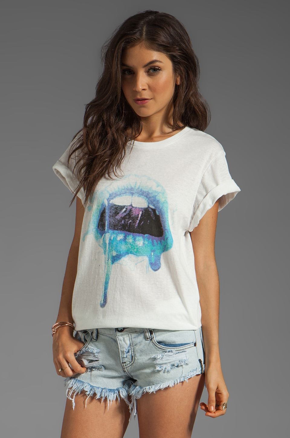 Evil Twin Toxic Kiss Relaxed Tee in Off White