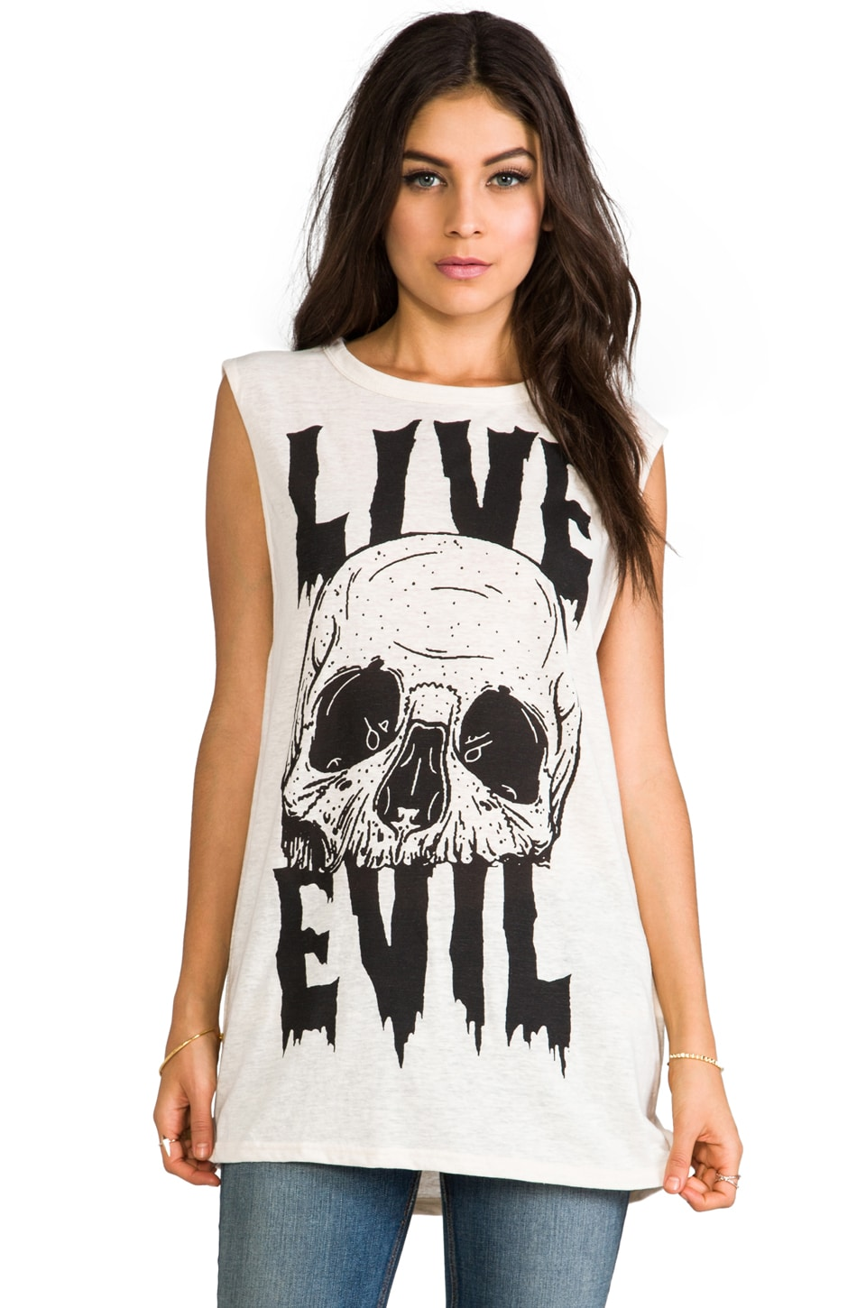 Evil Twin Low Life Tunic Muscle Tank in Off White/Black