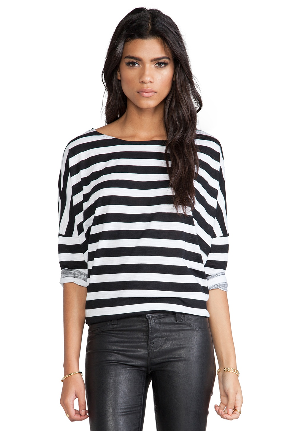 Evil Twin Out of Line Box Tunic Tee in Black & White