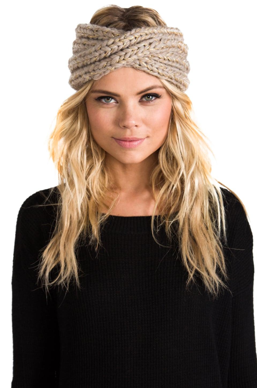 Eugenia Kim Lula Metallic Turban Headband in Oatmeal