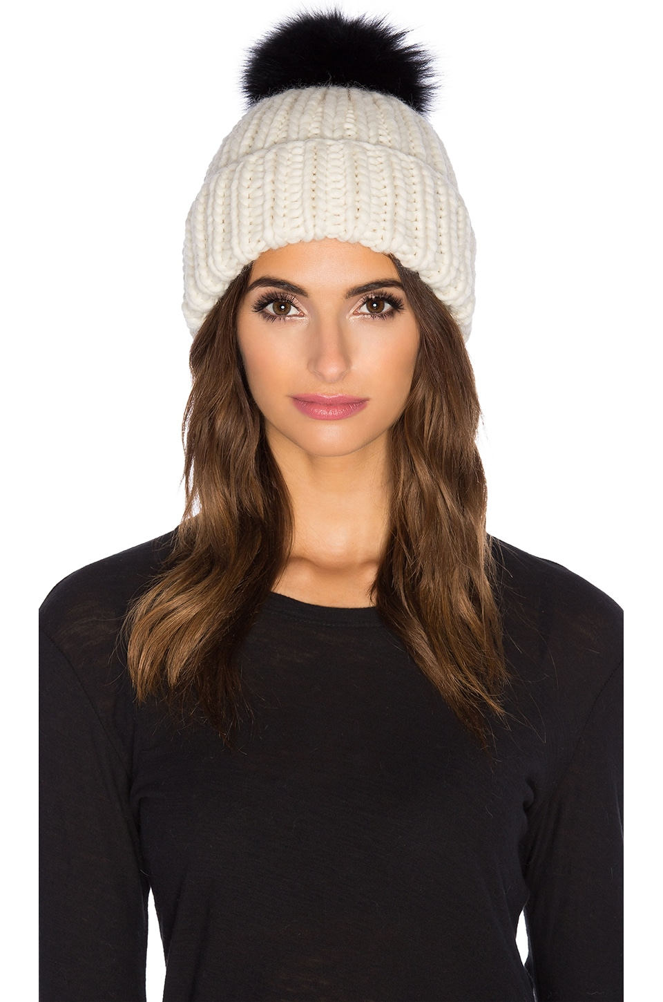 Eugenia Kim Arctic Fox Fur Rain Beanie in Cream & Black