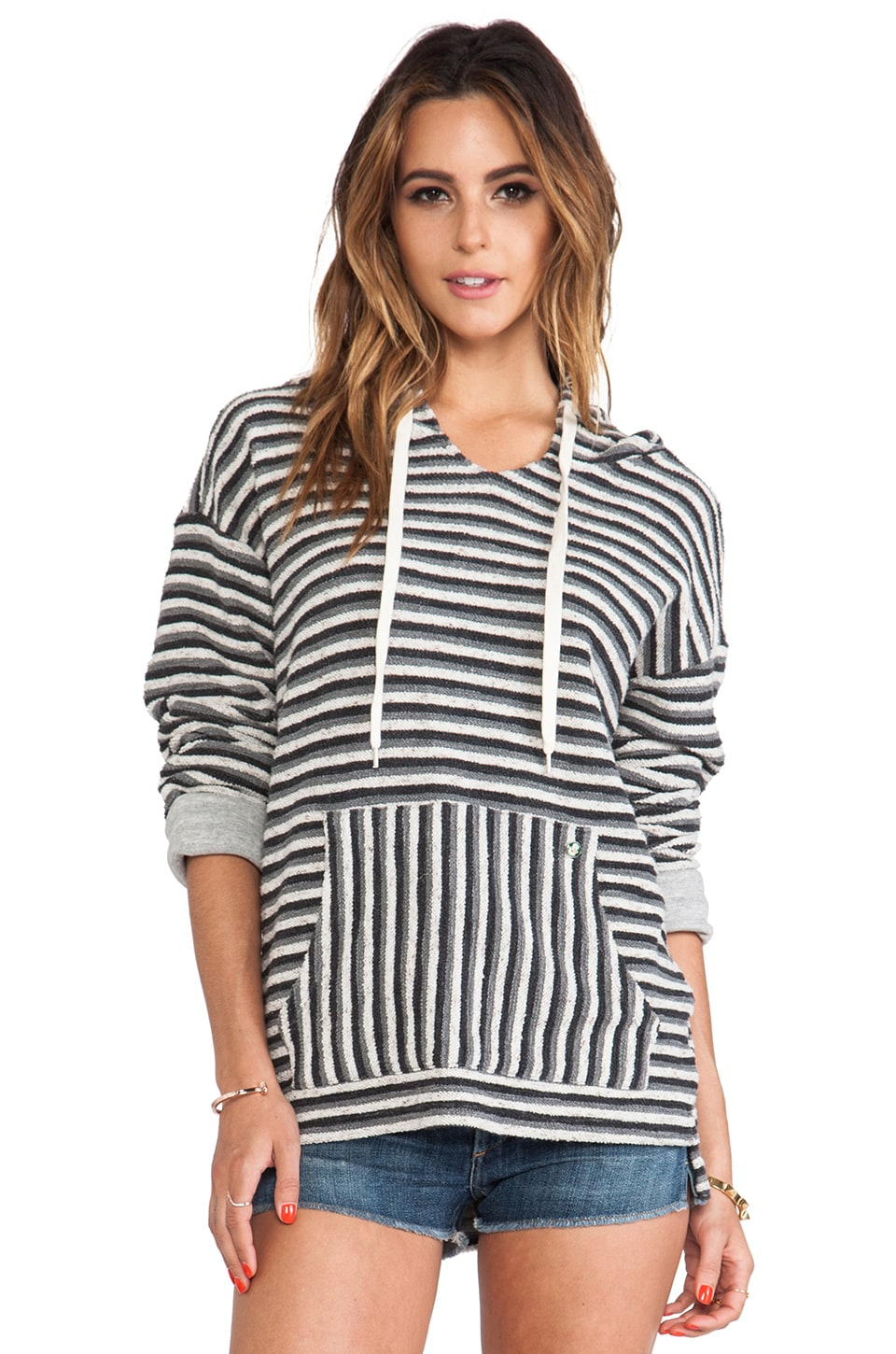 EVER Ensenada Poncho in Grey & Black Stripe