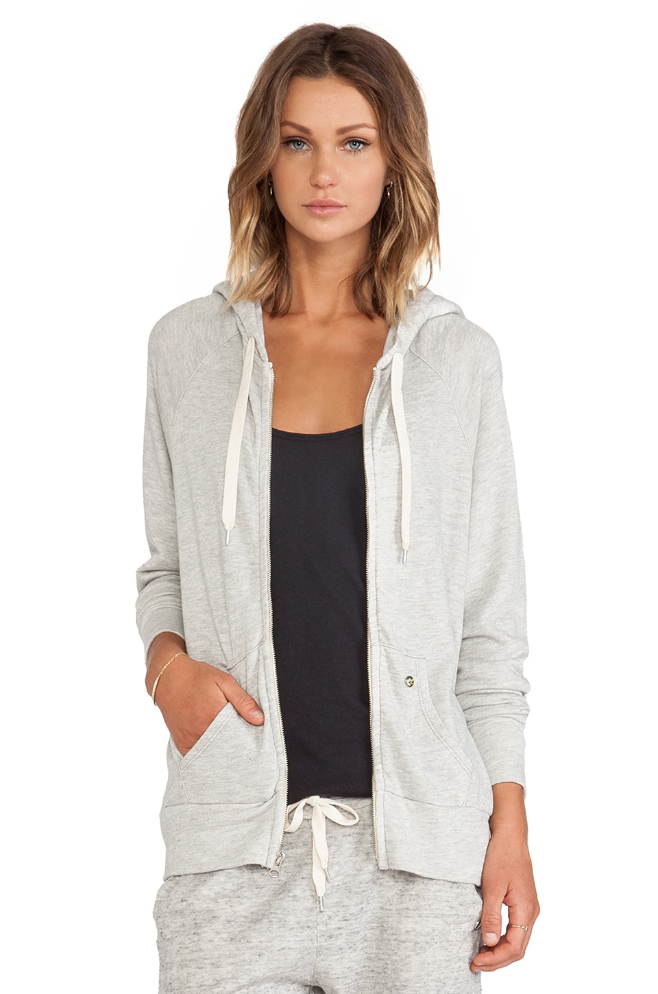 EVER Dakota Thermal Lined Zip-Up Hoodie in Heather Grey