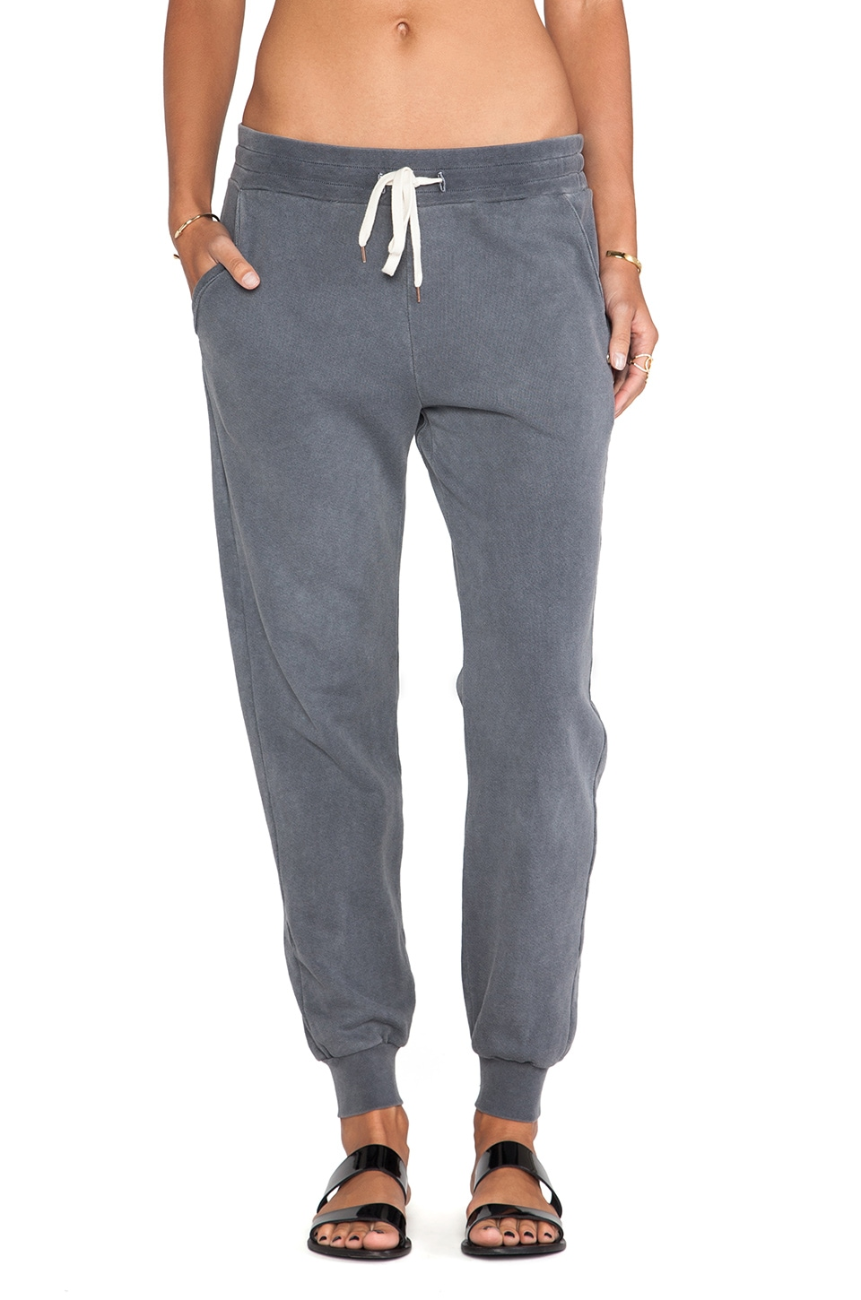 EVER Bleeker Zip Back Sweatpant in Granite