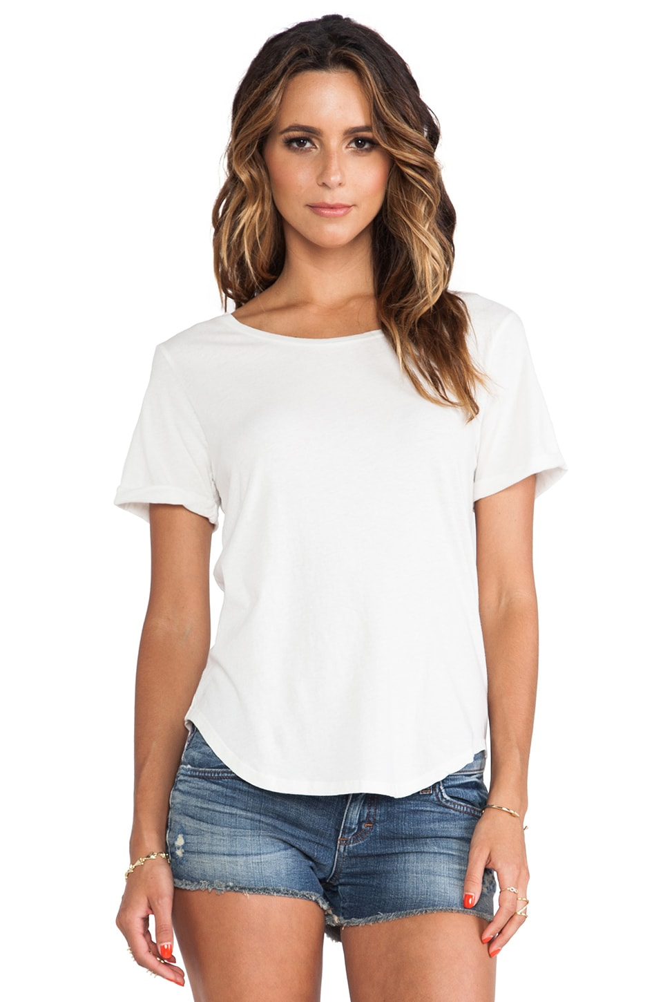 EVER Shirt Tail Short Sleeve Tee in White