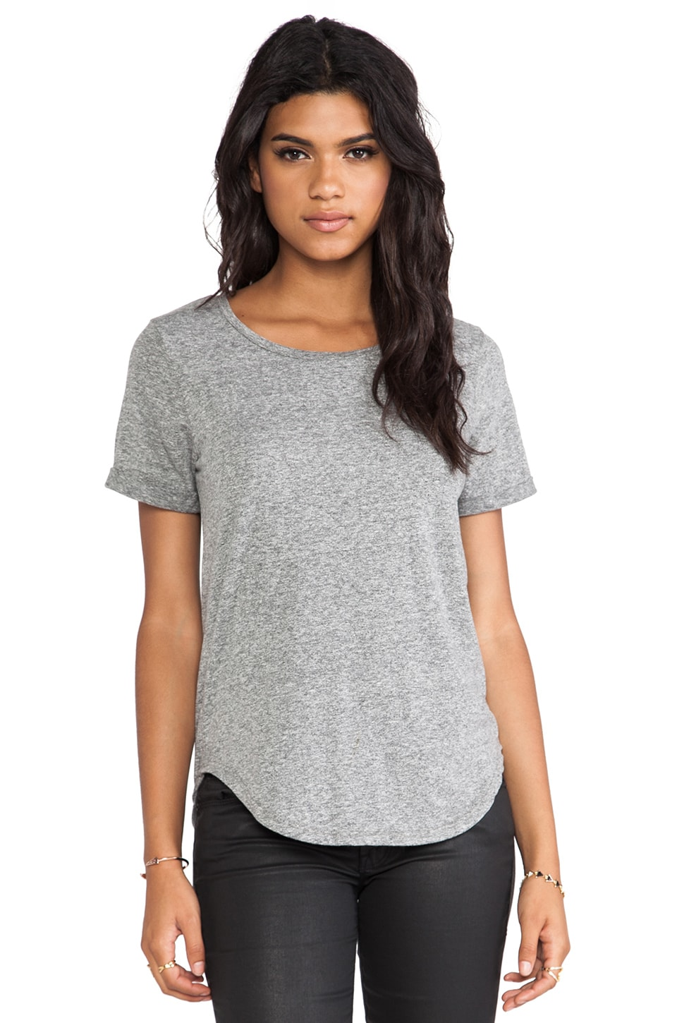 EVER Shirt Tail Short Sleeve Tee in Heather Grey