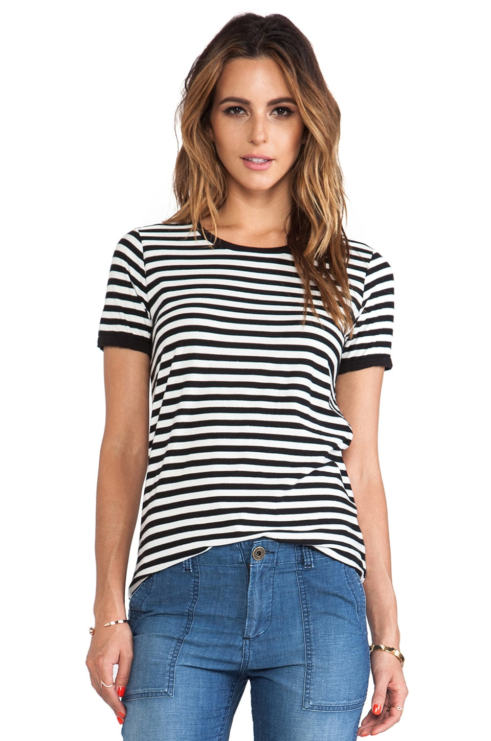 EVER Short Sleeve Tee in Black & White Stripe