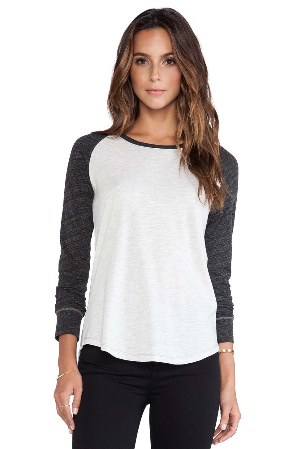 EVER Bi-Color Raglan Tee in Light Grey & Charcoal