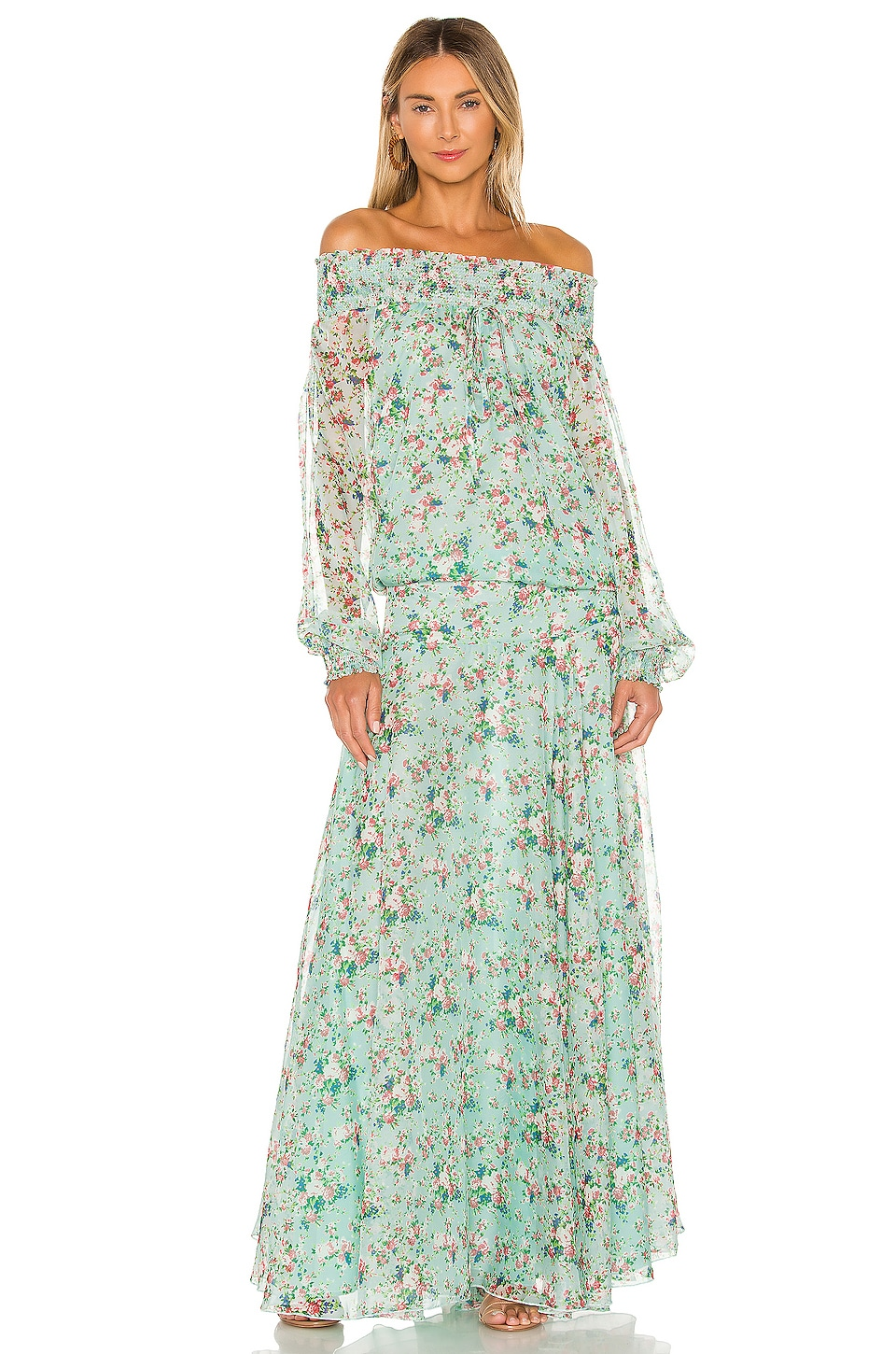 eywasouls malibu Monique Dress in Pale Blue Millefleur Print