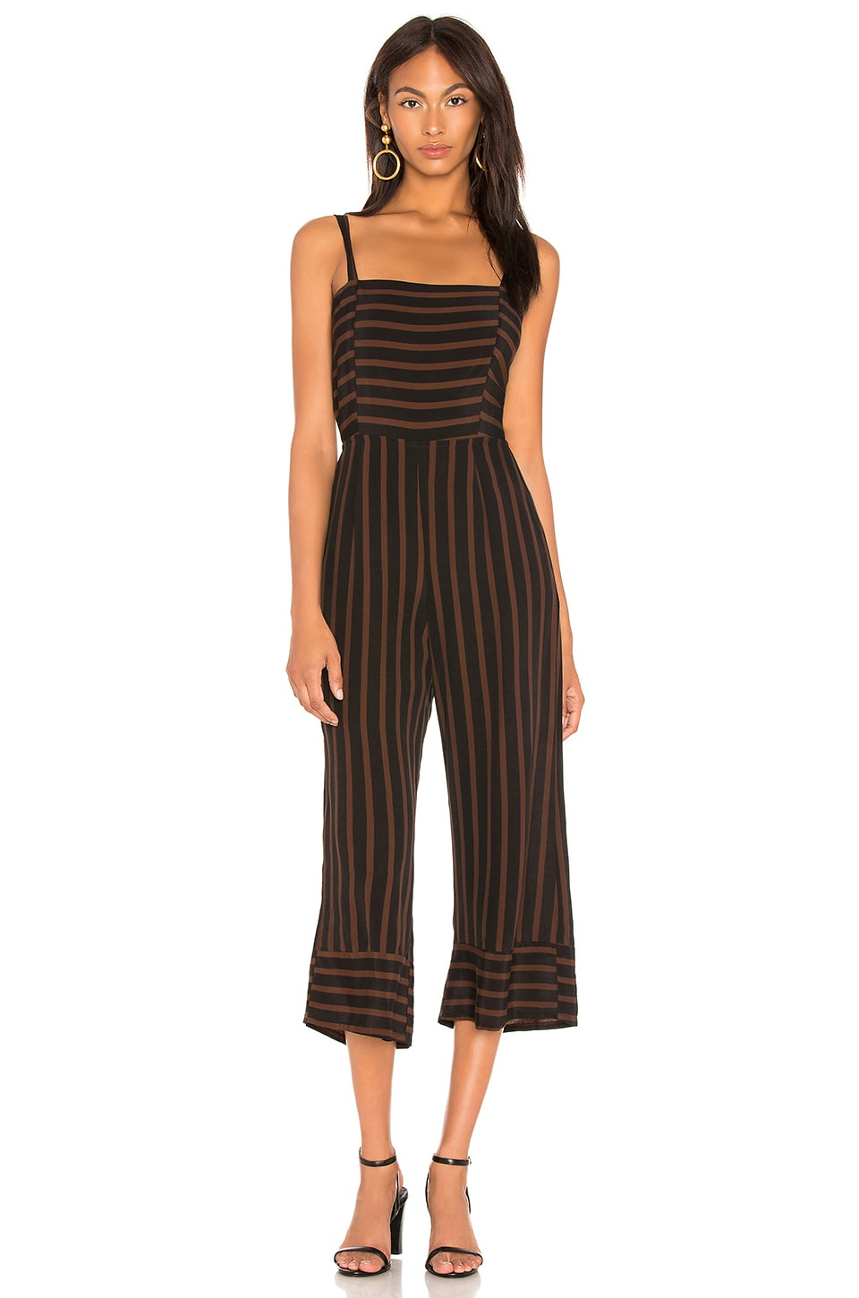 FAITHFULL THE BRAND Guanabo Tie Back Stripe Jumpsuit in Brown