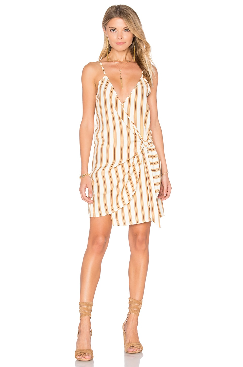 FAITHFULL THE BRAND Kara Wrap Dress in Natural Sandwash Print