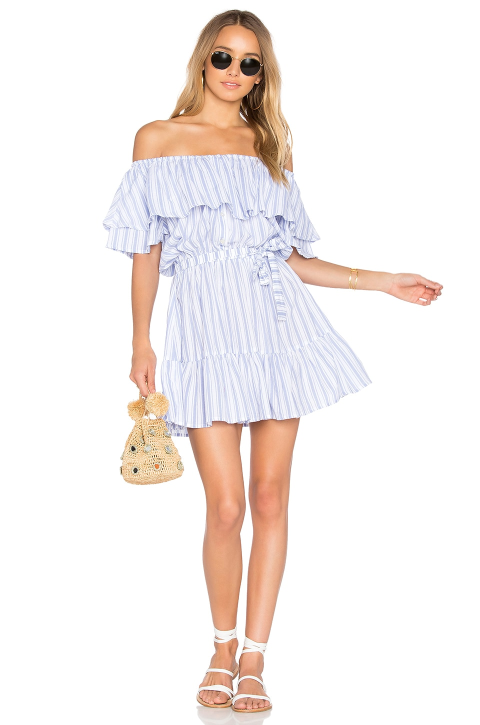FAITHFULL THE BRAND x REVOLVE Aura Dress in Blue and White Stripe