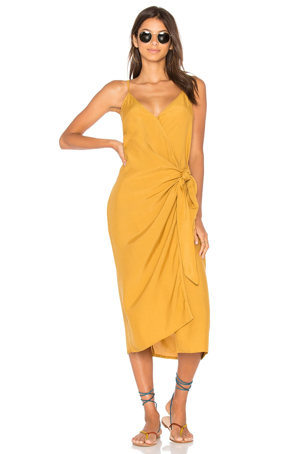 FAITHFULL THE BRAND Juel Midi Dress in Plain Mustard