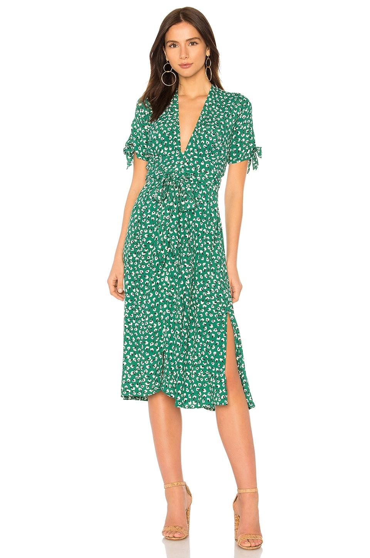 FAITHFULL THE BRAND Nina Midi Dress in Vintage Bloom Print Green ...