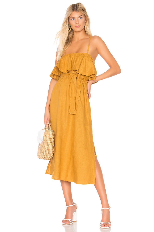 FAITHFULL THE BRAND Santo Midi Dress in Plain Marigold