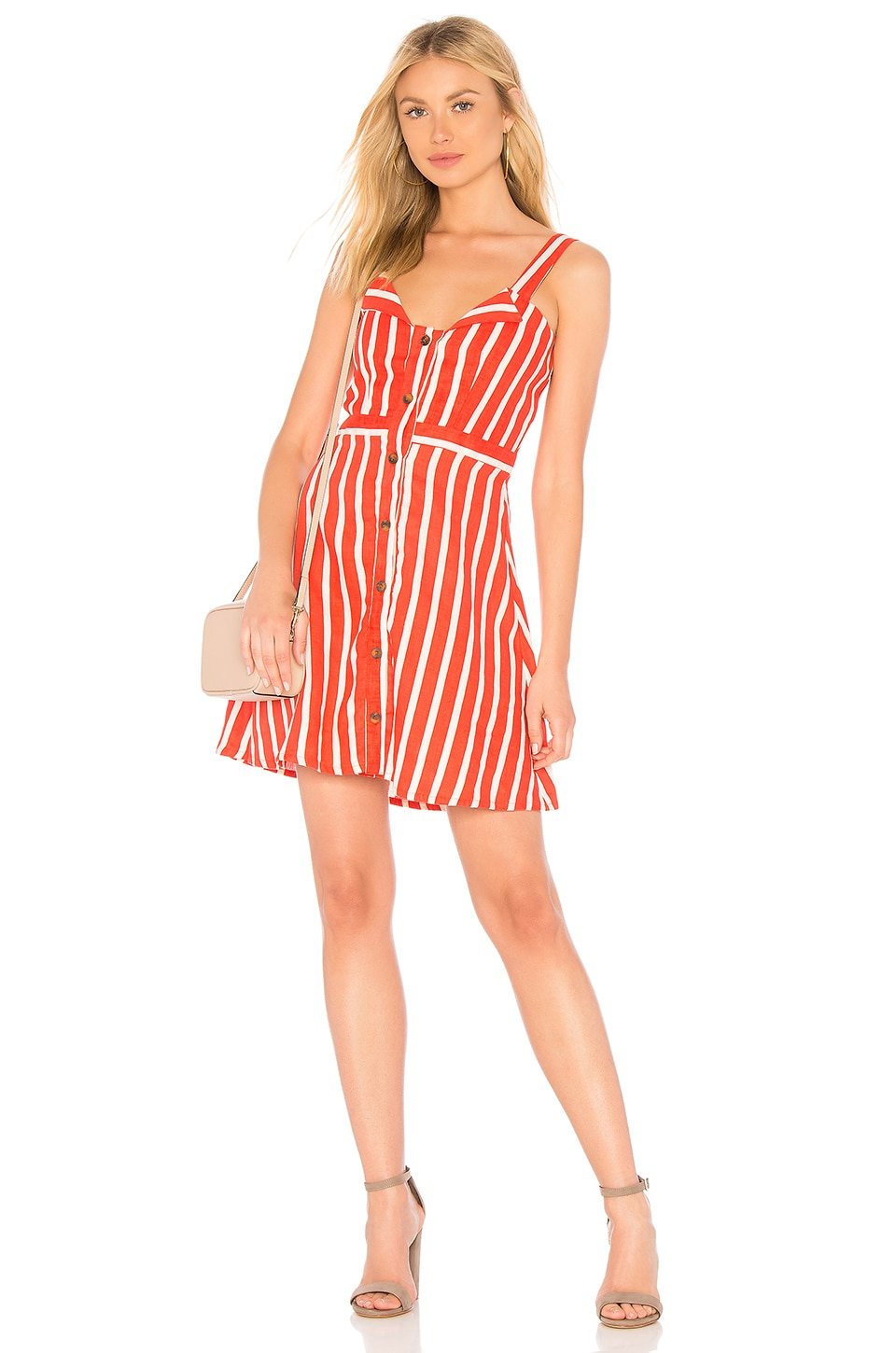 FAITHFULL THE BRAND Le Petite Dress in Tangerine Mazur Stripe