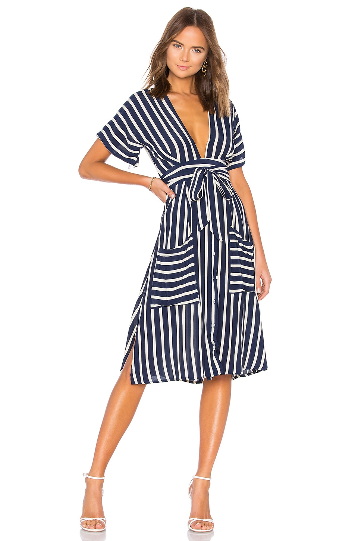 FAITHFULL THE BRAND Milan Midi Dress in Mazur Stripe Print Navy