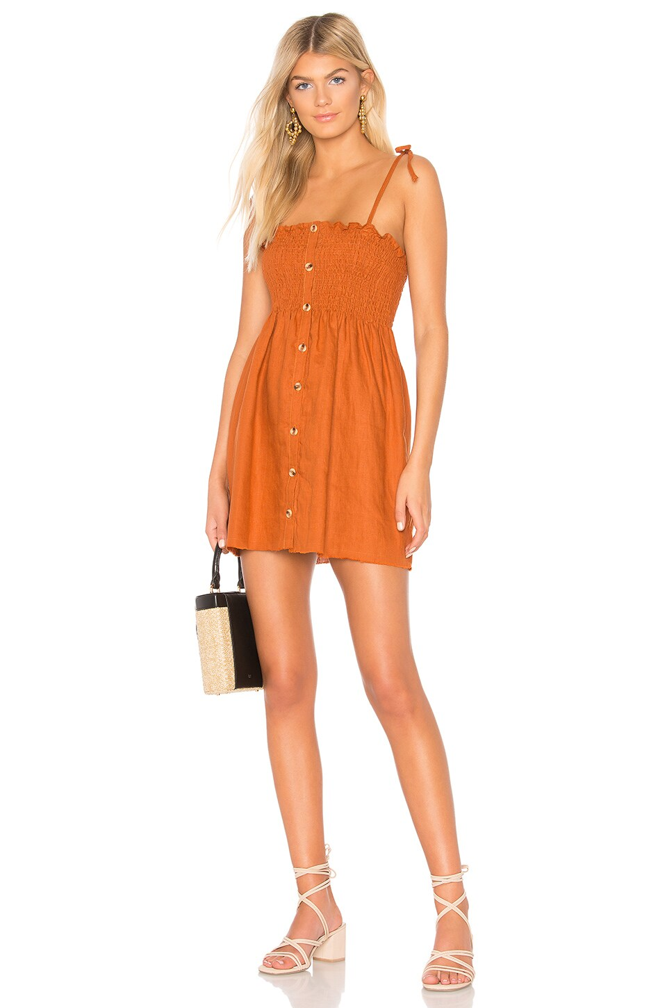 FAITHFULL THE BRAND Rosa Smocked Linen Mini Dress in Camel