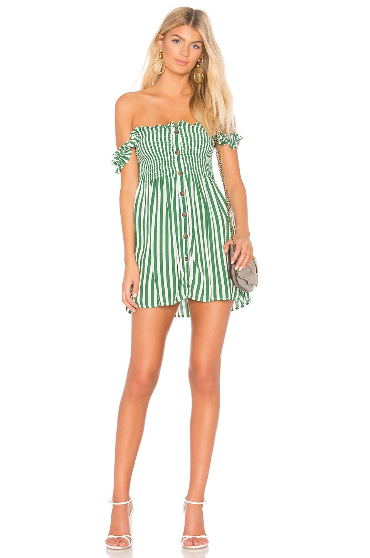 FAITHFULL THE BRAND Mika Dress in Green Zeus Stripe