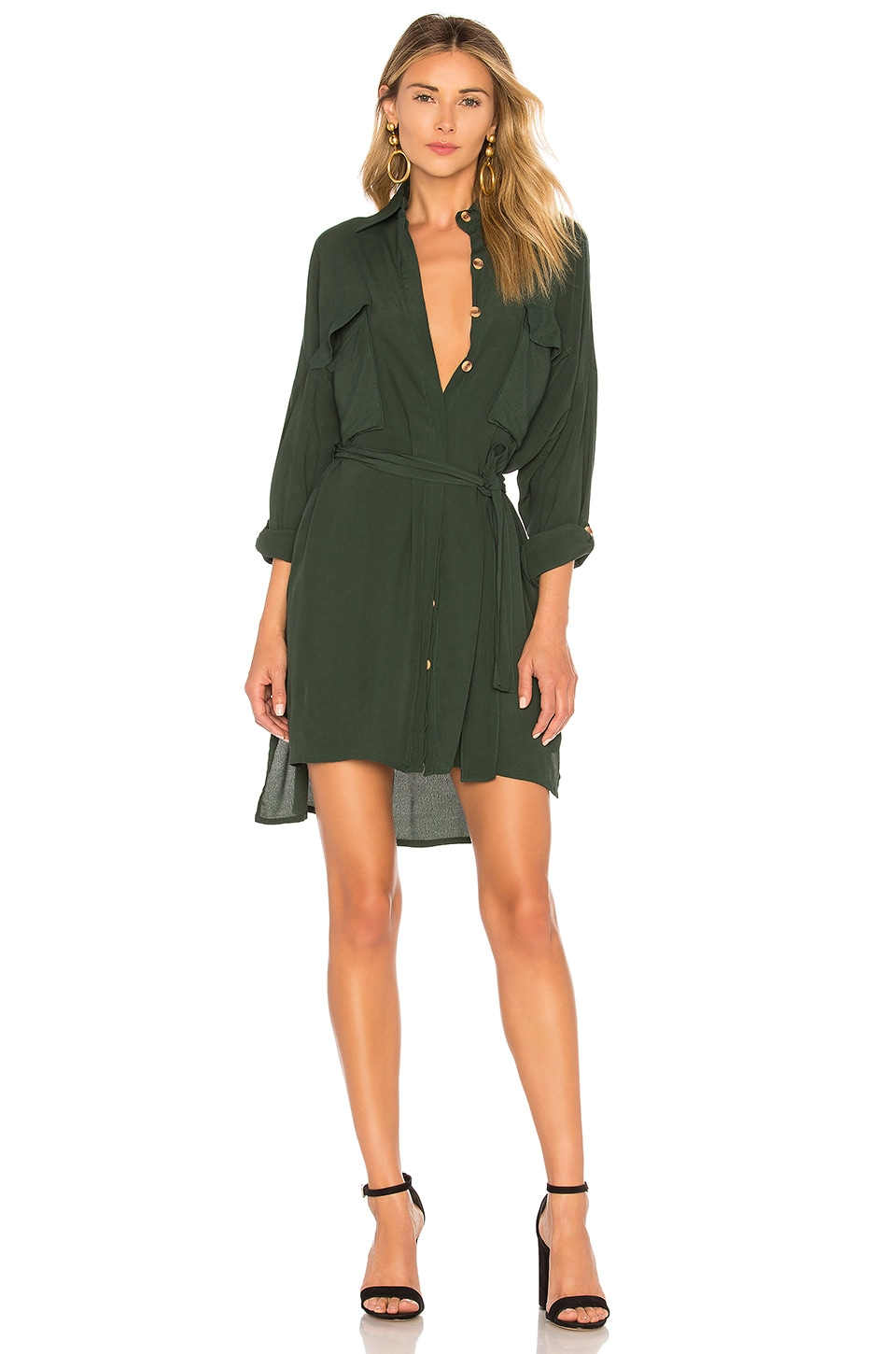 FAITHFULL THE BRAND Debbie Shirt Dress in Pine Green