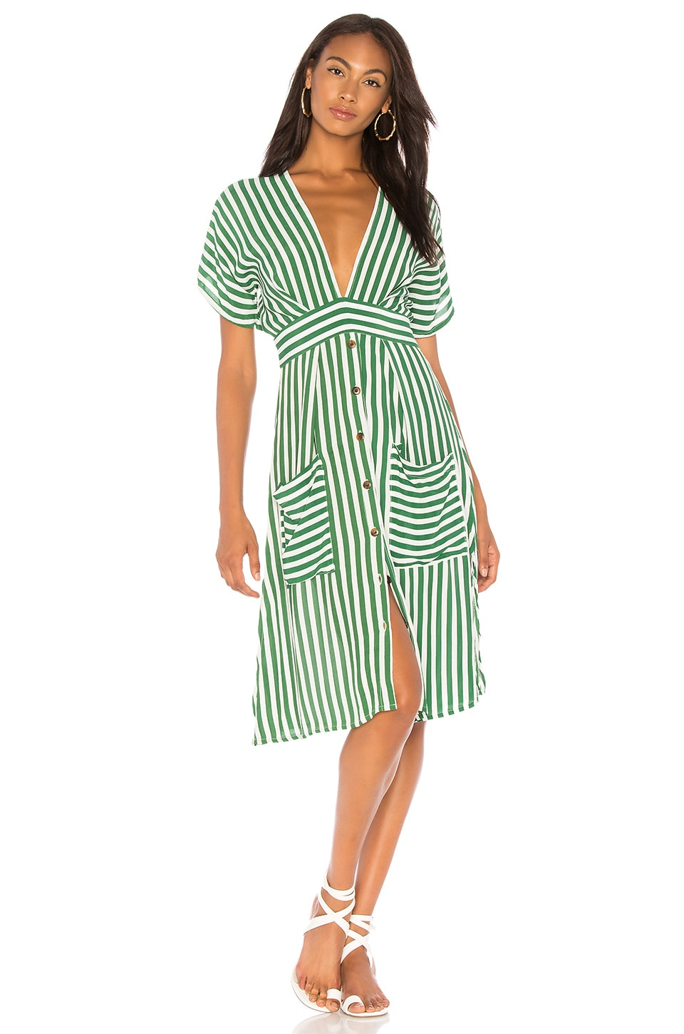 FAITHFULL THE BRAND Milan Midi Dress in Green