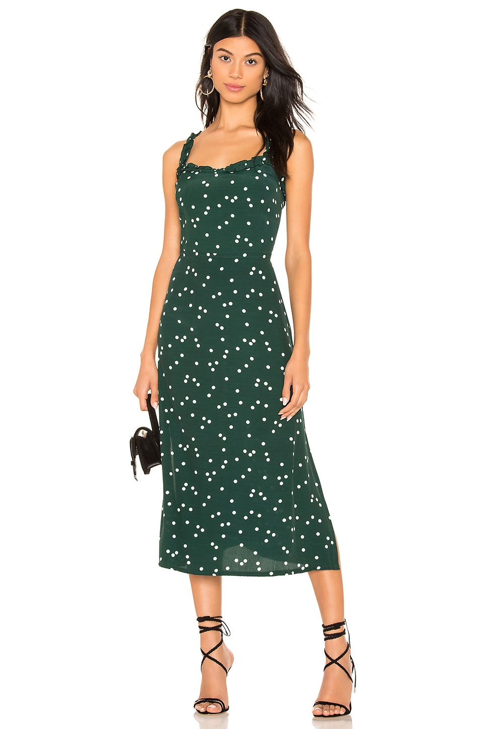 FAITHFULL THE BRAND Gizele Midi Dress in Green Linnea Dot