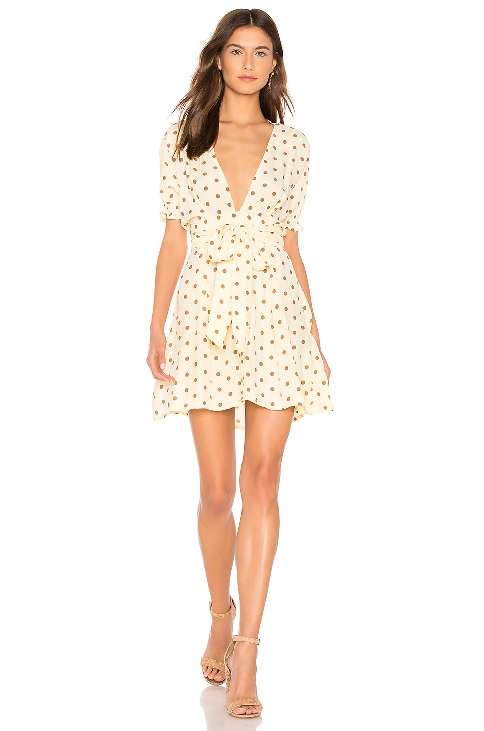 FAITHFULL THE BRAND Vanelli Mini Dress in Lemon Sylve Dot