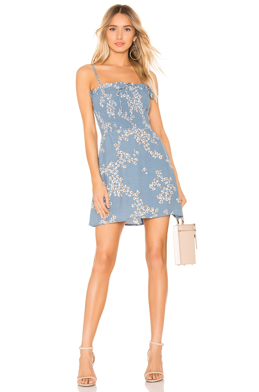 FAITHFULL THE BRAND Marni Shirred Dress in Cornflower Blue Cap Estelle Floral