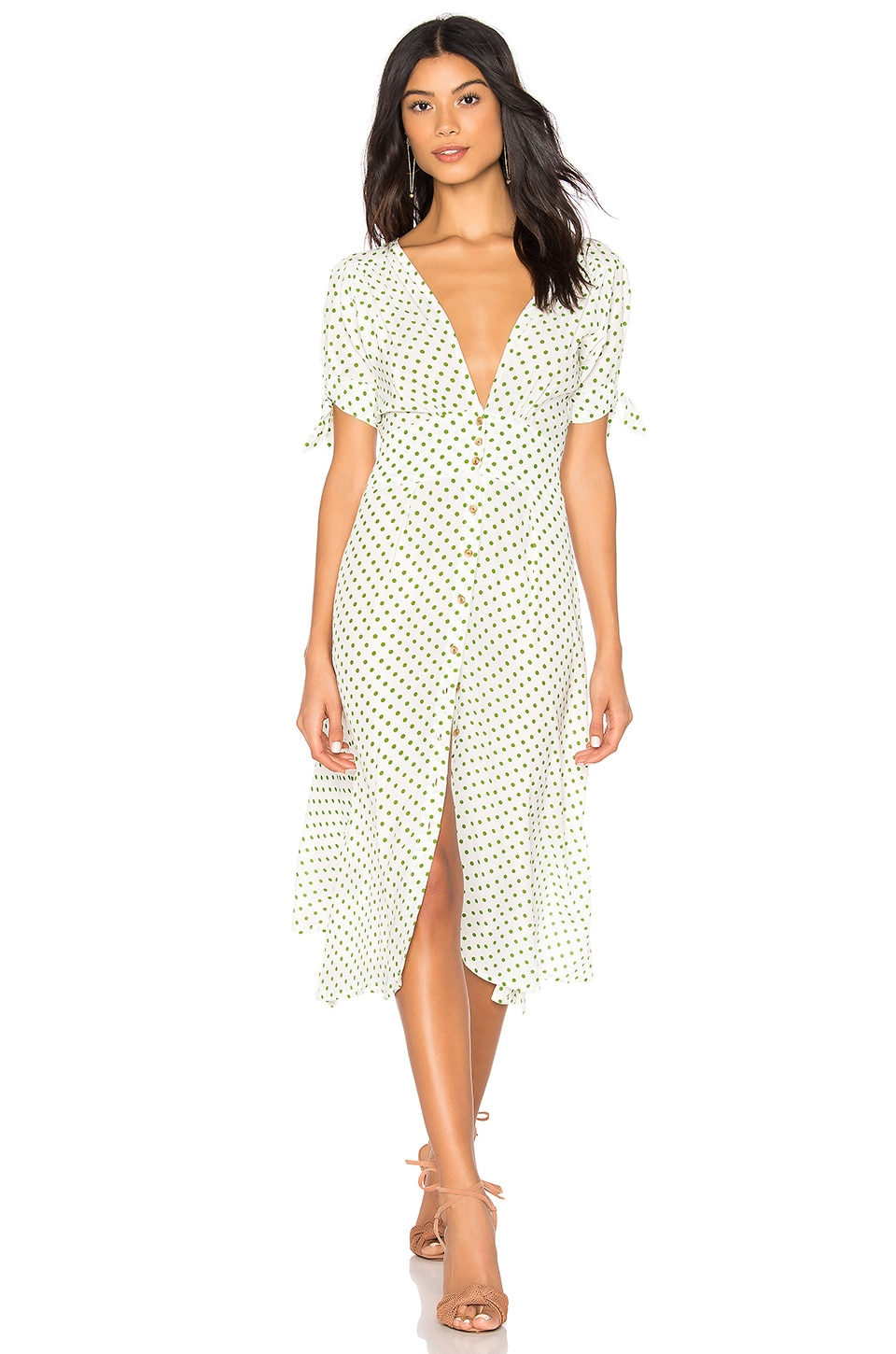 FAITHFULL THE BRAND Billie Midi Dress in Green Lula Dot