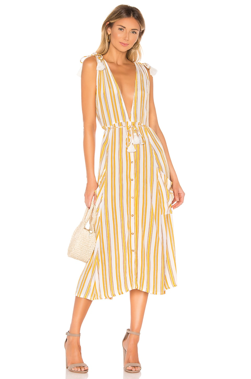 FAITHFULL THE BRAND Claudia Midi Dress in Sun Azure Stripe