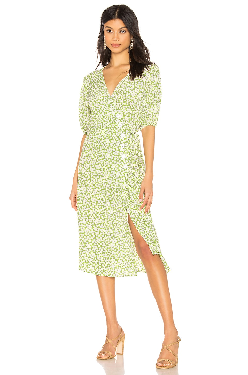 FAITHFULL THE BRAND Marta Dress in Avocado Green Bella Floral