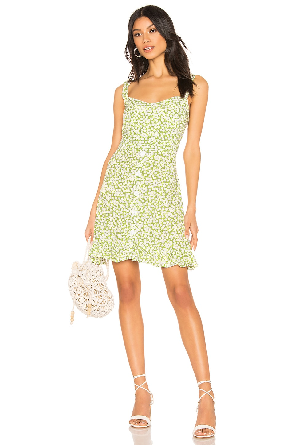 FAITHFULL THE BRAND Lou Lou Mini Dress in Avocado Green Bella Floral