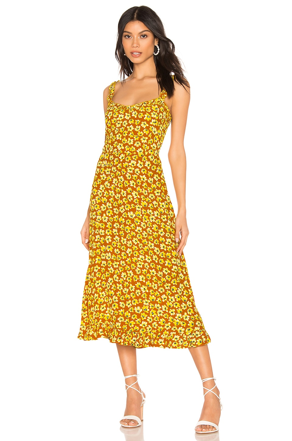 FAITHFULL THE BRAND Noemie Dress in Saffron Thelma Floral