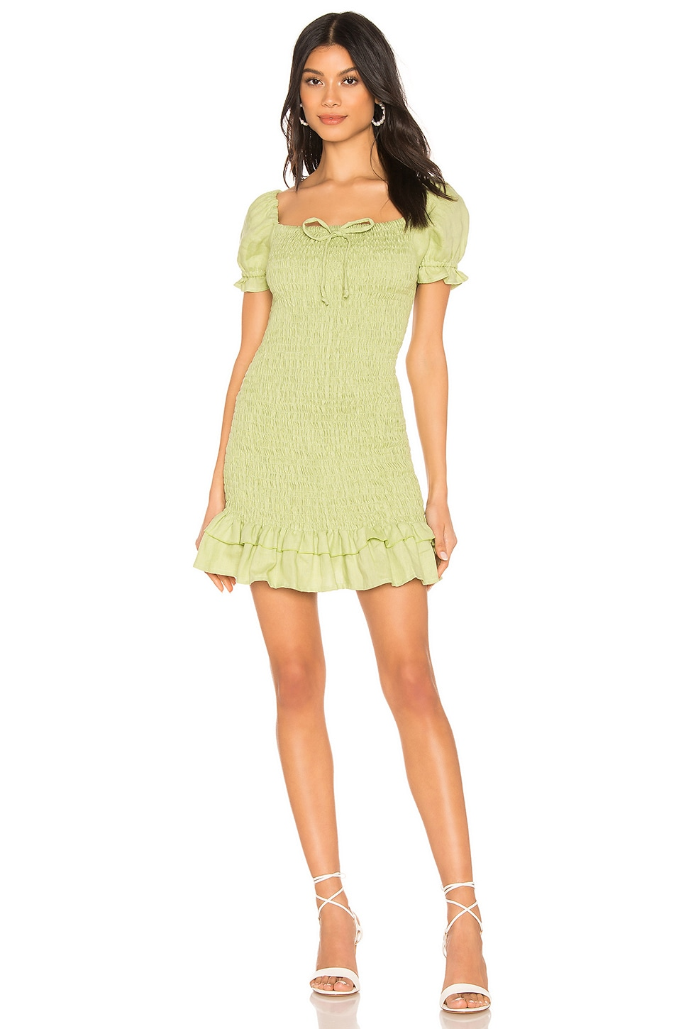 FAITHFULL THE BRAND Cette Dress in Washed Lime