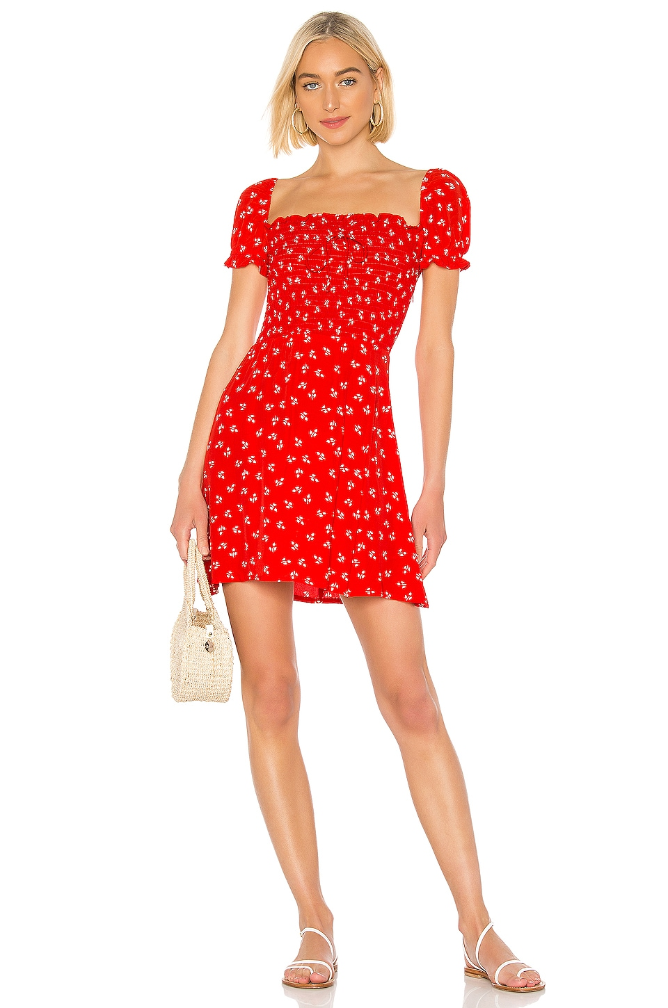 FAITHFULL THE BRAND Genevieve Dress in Cherry Jeanne