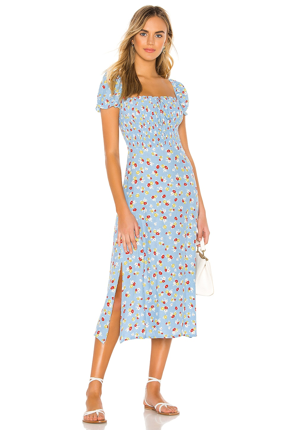FAITHFULL THE BRAND Castilo Midi Dress in Blue Jasmine Floral