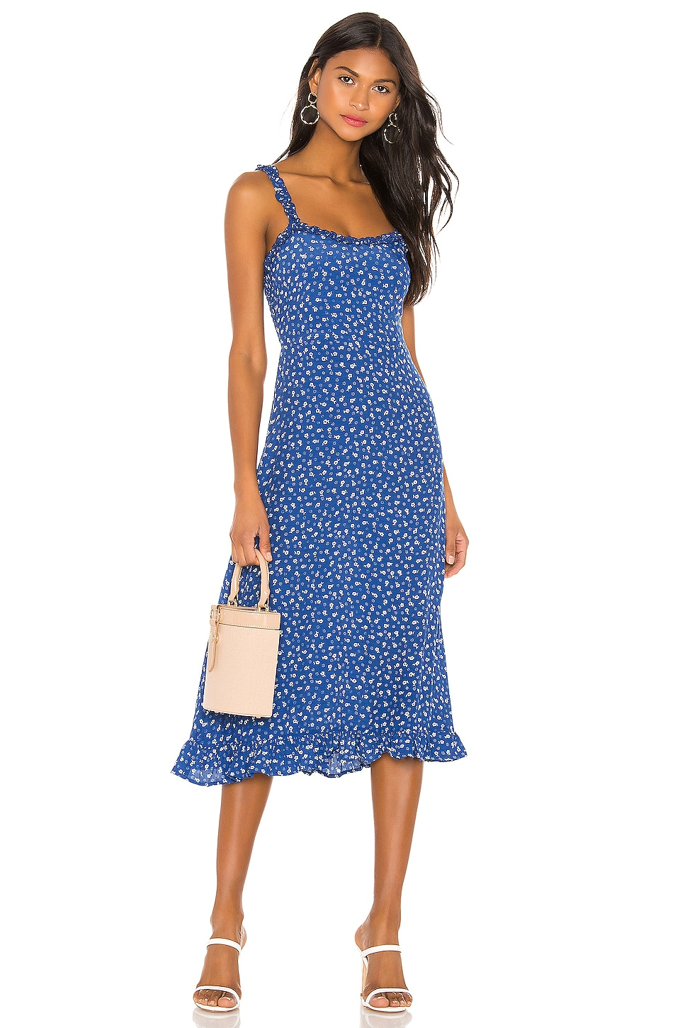 FAITHFULL THE BRAND Noemie Midi Dress in Blue Monette Floral