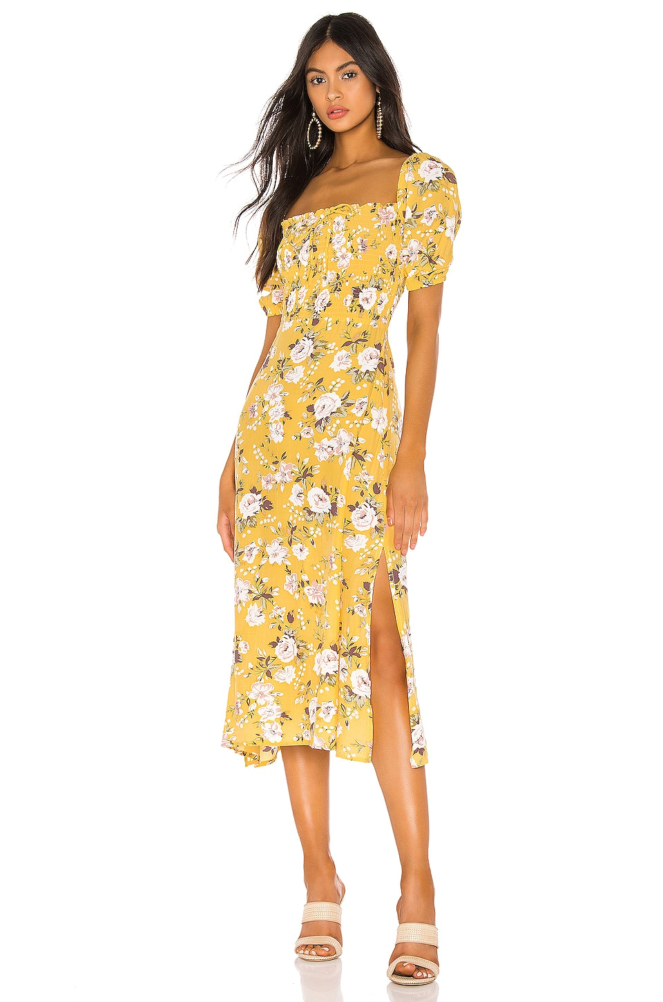 FAITHFULL THE BRAND Majorelle Dress in Jasmin Yellow Pomeline Floral