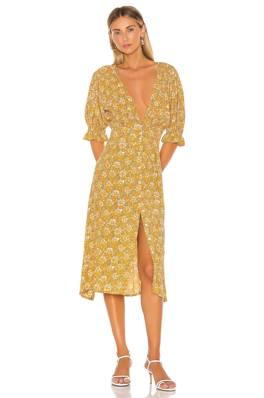 FAITHFULL THE BRAND Rafa Dress in Saffron Delphine Floral